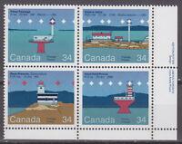 CANADA #1063-1066 34¢ Canadian Lighthouses LR Inscription Block MNH