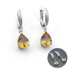 Women's color change diaspore 925 sterling silver sultanit  tear drop earrings