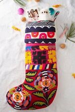 NWT Anthropologie Verdure Stocking Embroidered Christmas Boho Hippie
