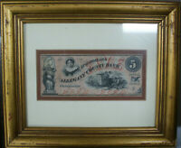 Framed Cumberland Maryland $5 Allegany County Bank Note