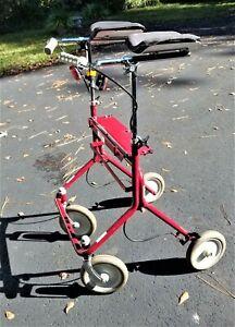 RED Standing Upright Forearm Rolling MEDICAL WALKER - ADJUSTABLE