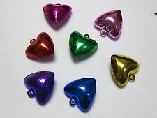 20 Heart JINGLE BELLS~Christmas Mixed Colors~Beads Charms 20mm For Craft