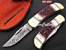 Custom Handmade Damascus Beautiful Folding Knife Brass Bolster Color Bone handle