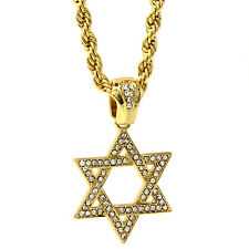 "Mens 14k Gold Plated Hip-Hop Star Of David Pendant 24"" Rope Chain Necklace D685"