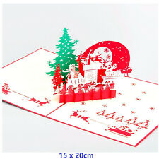 Christmas Eve 3D Pop Up Greeting Cards Merry Christmas Birthday With Envelope
