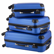 BHC 3 Pcs Luggage Travel Set Bag ABS 4 Wheels Trolley Suitcase Light Blue