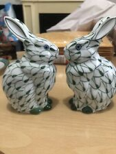 Pair of Andrea by Sadek Green Hand Painted Porcelain Bunny Rabbits Herend Style