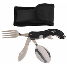 Knife fork spoon KFS set from FOX outdoor of GERMANY scout BLACK