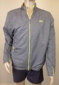 Authentic Slazenger Grey & Neon Sports Training Windbreaker Jacket Mens Size XL