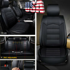Full Set 5-sits Car Seat Cover Cushion Protector Pad Breathable Black PU Leather