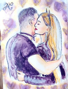 Shiny Original Sketch Card 1/1 Bruce Wayne Catwoman Couple Kiss Prese Batman PSC
