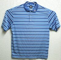 FootJoy FJ Mens Blue Striped Polo Golf Short Sleeve Shirt Size XL EUC