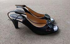 Cole Haan Black Leather Open-Toe Slingback Heels 8.5B