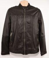 DKNY Men's Biker Lambskin Leather jacket, Black, size SMALL