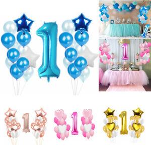25pcs/set Number 1 Boy Girl Foil Balloons Baby 1st Birthday Party Decor Balloon