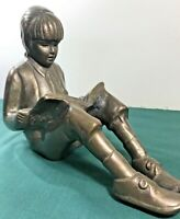 "Young Girl Reading A Book  - Heavy Bronze 7"" Tall x 8.5"" W  4 LB 2 OZ"