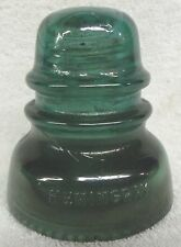 VINTAGE GLASSWARE--HEMINGSWAY # 40--ANTIQUE GLASS INSULATOR--GREEN--VERY CLEAN!