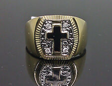 Real 10K Yellow Gold Men's Diamond Ring Band With Black Cross , Unique, Gift  N