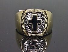 10K Yellow Gold Men's Diamond Ring With Black Cross /Band