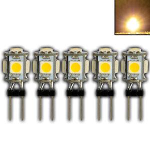 5x G4 1 Watt mini LED 5 SMD Warmweiß 12V Lampe Leuchtmittel Birne Halogen