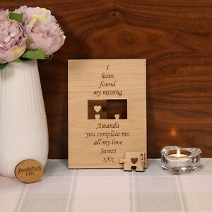 I Have Found My Missing / You Complete Me - Wooden Card, Love, Gift, Valentines