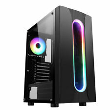 More details for cit sauron midi atx tower gaming pc case 120mm rgb ring led fan tempered glass