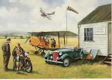 MG TD Essex Aero club de Havilland DH 82 Tiger Moth Triumph motorcycle art card