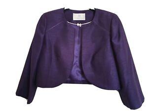 JACQUES VERT Bolero Jacket,  Dark Purple,  Size 10, Worn Once .