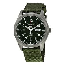 NEW MEN'S SEIKO 5 SPORTS 23 JEWEL GREEN MILITARY AUTOMATIC ANALOG WATCH SNZG09K1