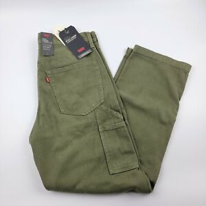 Levis Men's Stay Loose Carpenter Jeans Olive Relaxed Comfort Pants Size 31 x 32