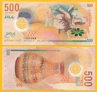 Maldives 500 Rufiyaa p-30 2015 UNC Polymer Banknote