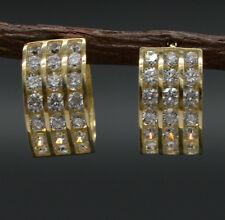 #GA23 10k Solid Gold 3 row Channel-Set CZ Hoop Earrings 13mm.X7mm 2.00GR