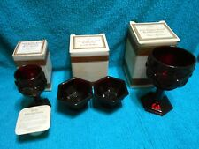 Vtg Avon Cape Cod Ruby Red Lot Wine Water Goblet Candle Holders in boxes