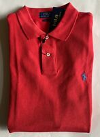 $90 NWT Mens Polo Ralph Lauren Classic Fit Mesh Short Sleeve Shirt Red Heather L