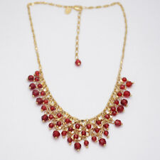 Lia Sophia jewelry gold filled red beads cluster bib statement necklace chain