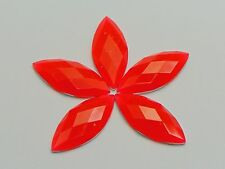 100 Neon Red Color Flatback Acrylic Horse Eye Rhinestone Gems 10X22mm No Hole