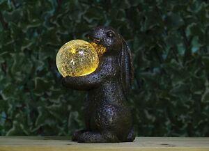 Garden Light Solar Rabbit With Crystal Ball Outdoor Ornament Statue Resin Lamp