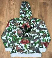 Adidas Originals womens birds floral multicolor pattern hoodie sweater size L