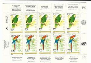 Venezuela: 1993; Scott 1504 pair, complete sheet thematic parrots UPAEP VZ0191