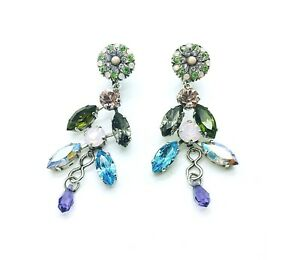 Mariana Earrings Colorful Chandelier Light Blue, Green & Violet Crystal Swaro...