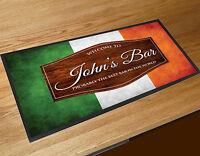 Personalised Welcome Irish Flag Ireland wood effect Beer bar runner mats