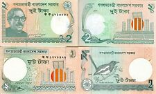 Bangladesh - 2 different notes of 2 takas - UNC