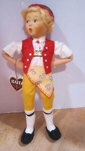 "Vintage 9"" Baitz Austria Appenzell hard plastic whistling boy VGC w tag"