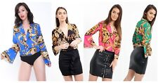 Ladies Paisley Scarf Print Bodysuit Leotard Wrap Collared Neck Blouse Top Bodies
