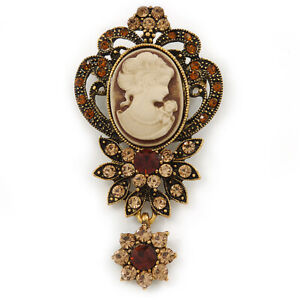 Vintage Inspired Amber/ Champagne Crystal Cameo with Charm Brooch In Bronze