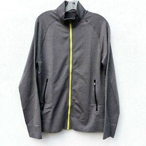 LULULEMON Men's Pulse Full Zip Jacket Raglan Heather Black/Gray Neon Yellow Sz.M