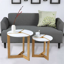 Contemporary High Gloss White Tabletop Wood Set of 2 Coffee/end Side Tables