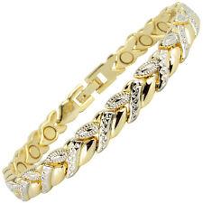 MAGNETIC BRACELET LADIES ALLOY MAGNET BRACELET ARTHRITIS GOLD SILVER 3000 GAUSS