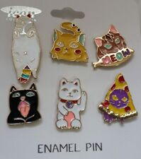 SET/6 Enamel metal button pin back brooches HAPPY CAT Cats Meow  N14-3/22