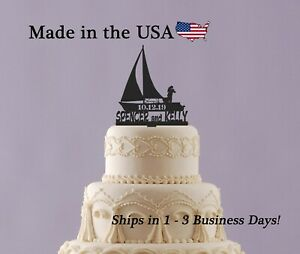 Sailing Wedding Cake Topper, Adventure Awaits, Personalized Name and Date,LT1400